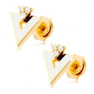 Zlaté náušnice 585 - biely trojuholník s výrezom, tri číre zirkóniky