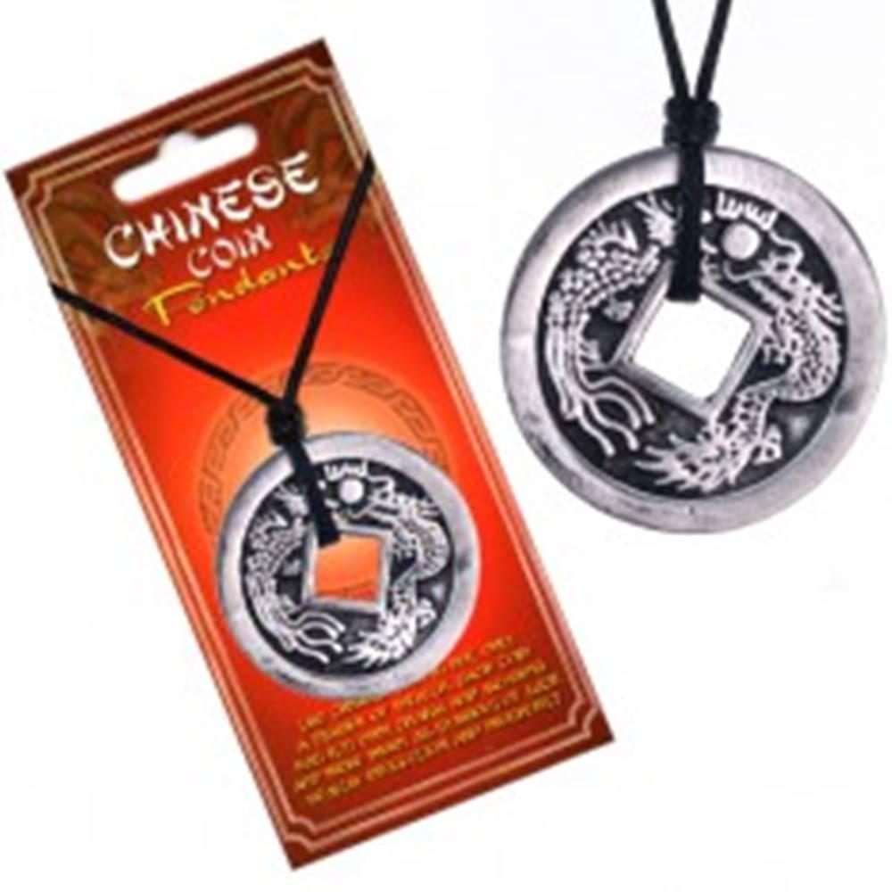 Šperky eshop Čierny náhrdelník, čínska minca s patinou, znaky a dva draky