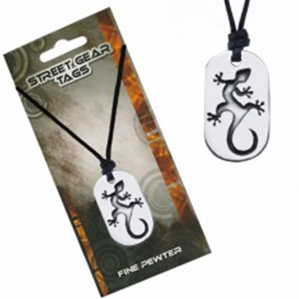 Šperky eshop Čierny náhrdelník – šnúrka, motív salamandry