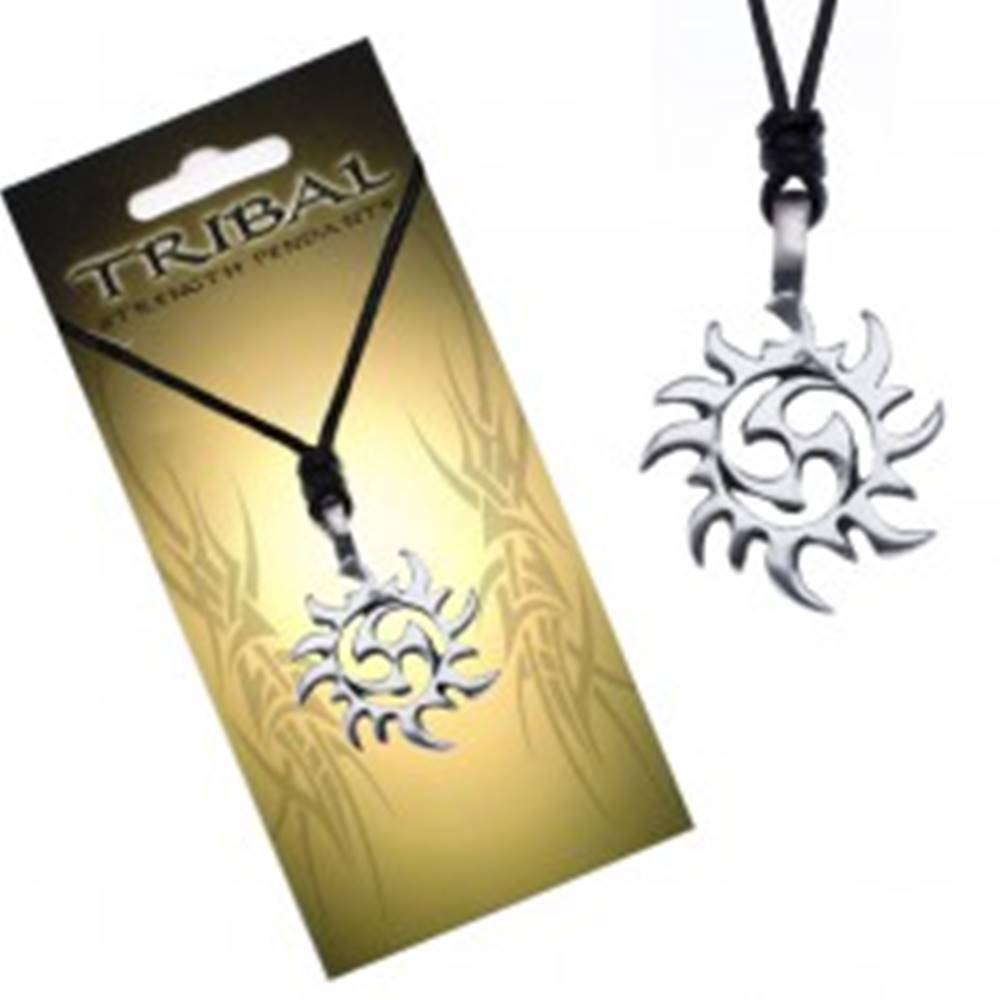 Šperky eshop Čierny náhrdelník - šnúrka, prívesok TRIBAL, slnko
