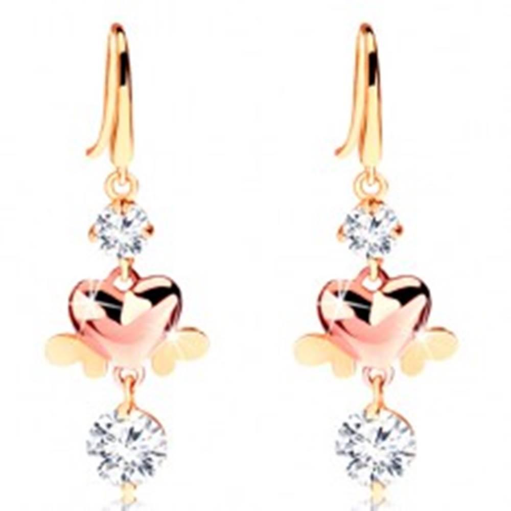 Šperky eshop Dvojfarebné náušnice zo 14K zlata - okrúhle číre zirkóny, lesklé srdiečka