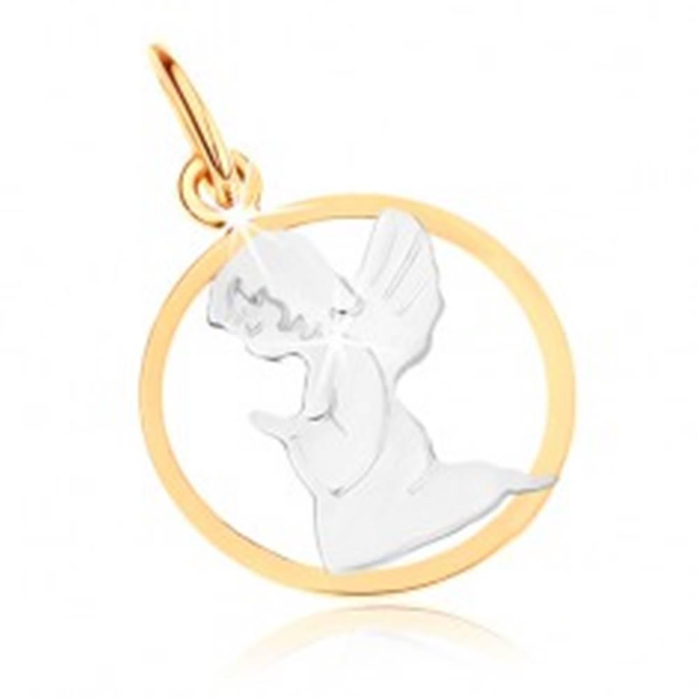 Šperky eshop Dvojfarebný zlatý prívesok 375 - gravírovaný anjelik, kontúra kruhu, ródiovaný