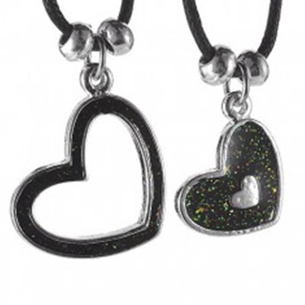 Šperky eshop Dvojitý náhrdelník - srdiečka na šnúrkach