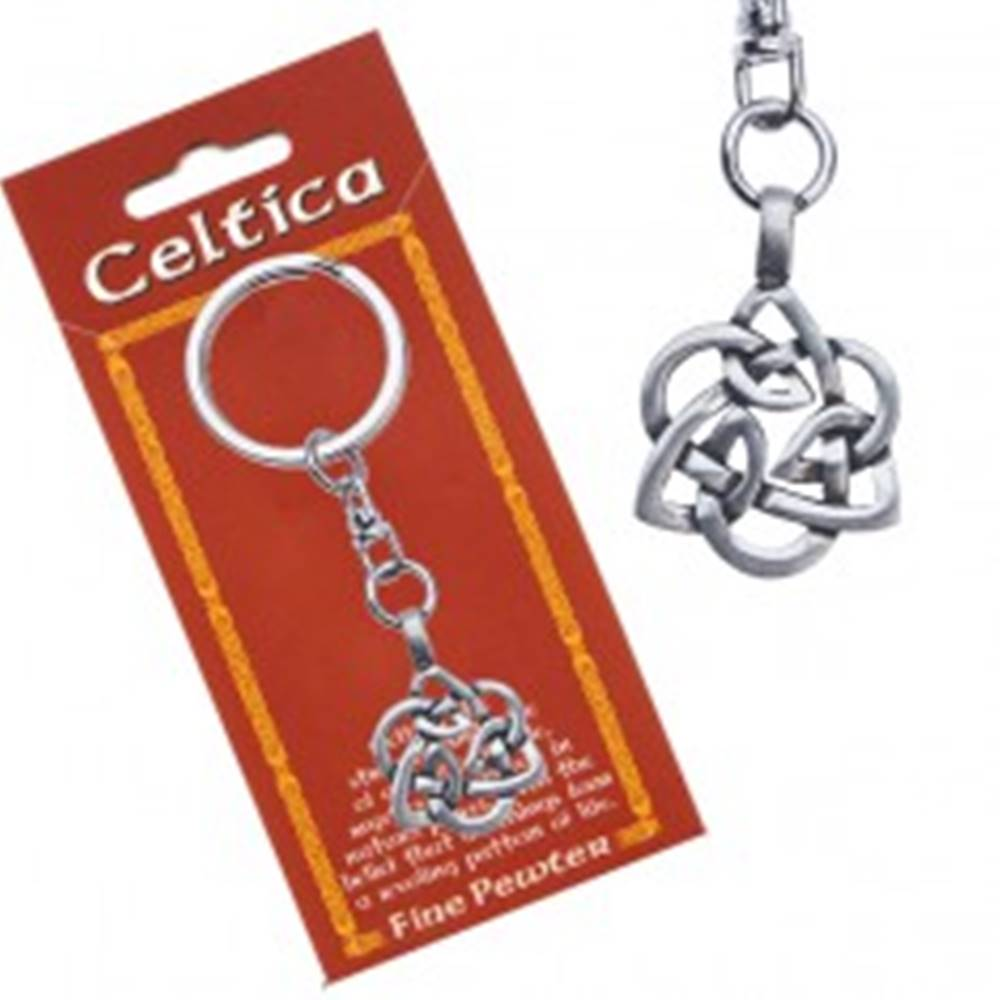 Šperky eshop Kovový prívesok na kľúče – keltský uzol, kvet