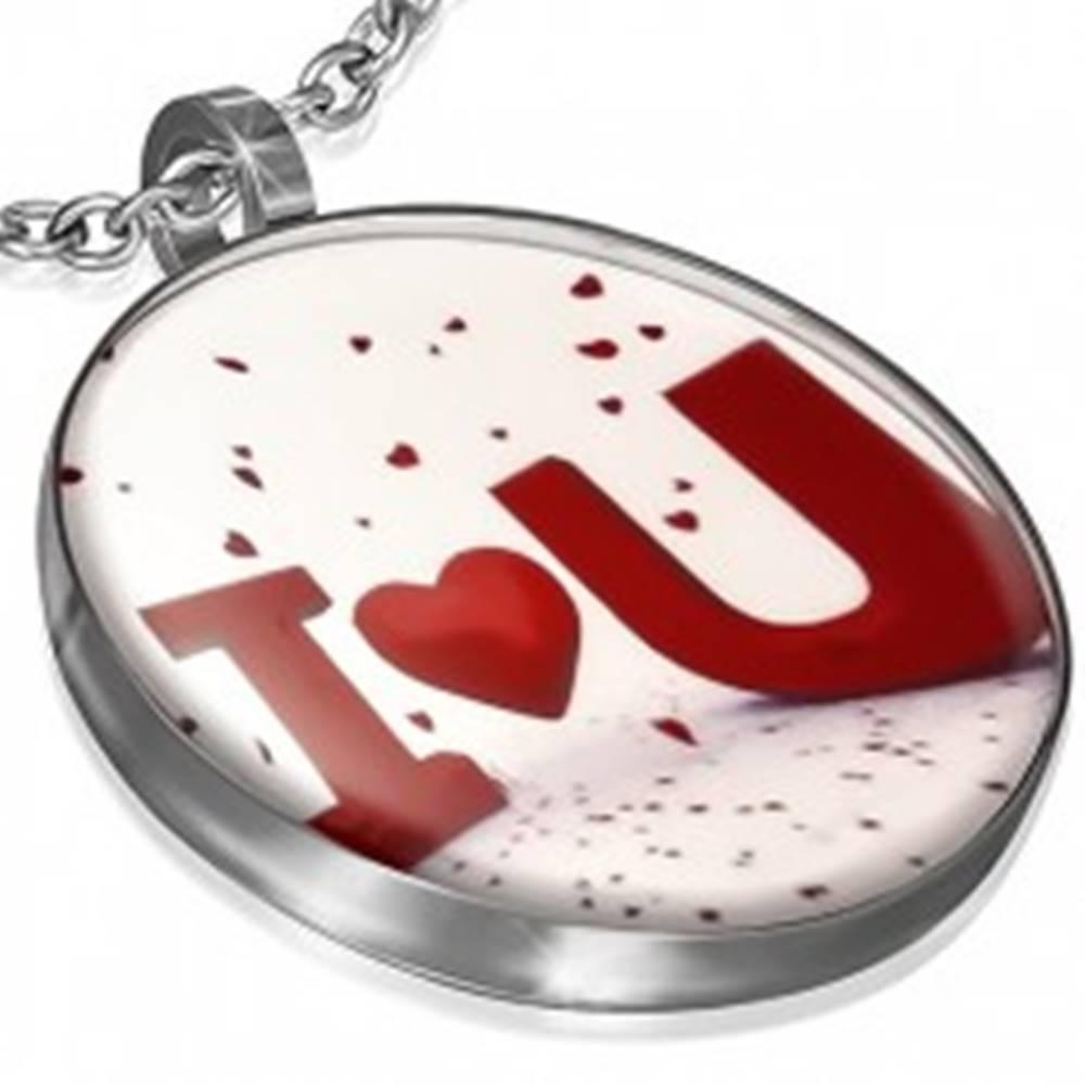 Šperky eshop Kruhový prívesok s vyznaním lásky a glazúrou