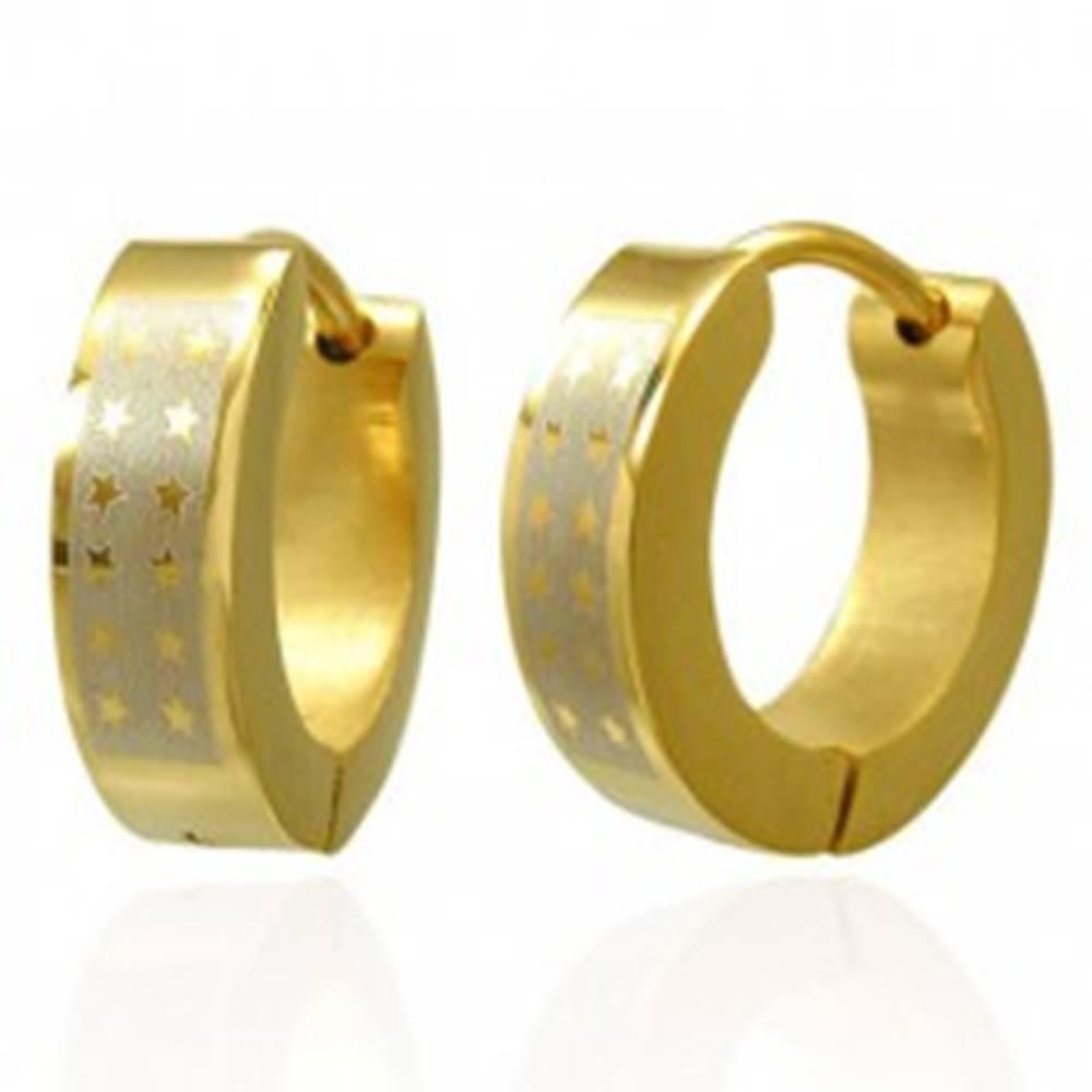 Šperky eshop Lesklé okrúhle oceľové náušnice - zlatý odtieň, pás striebornej farby s hviezdami