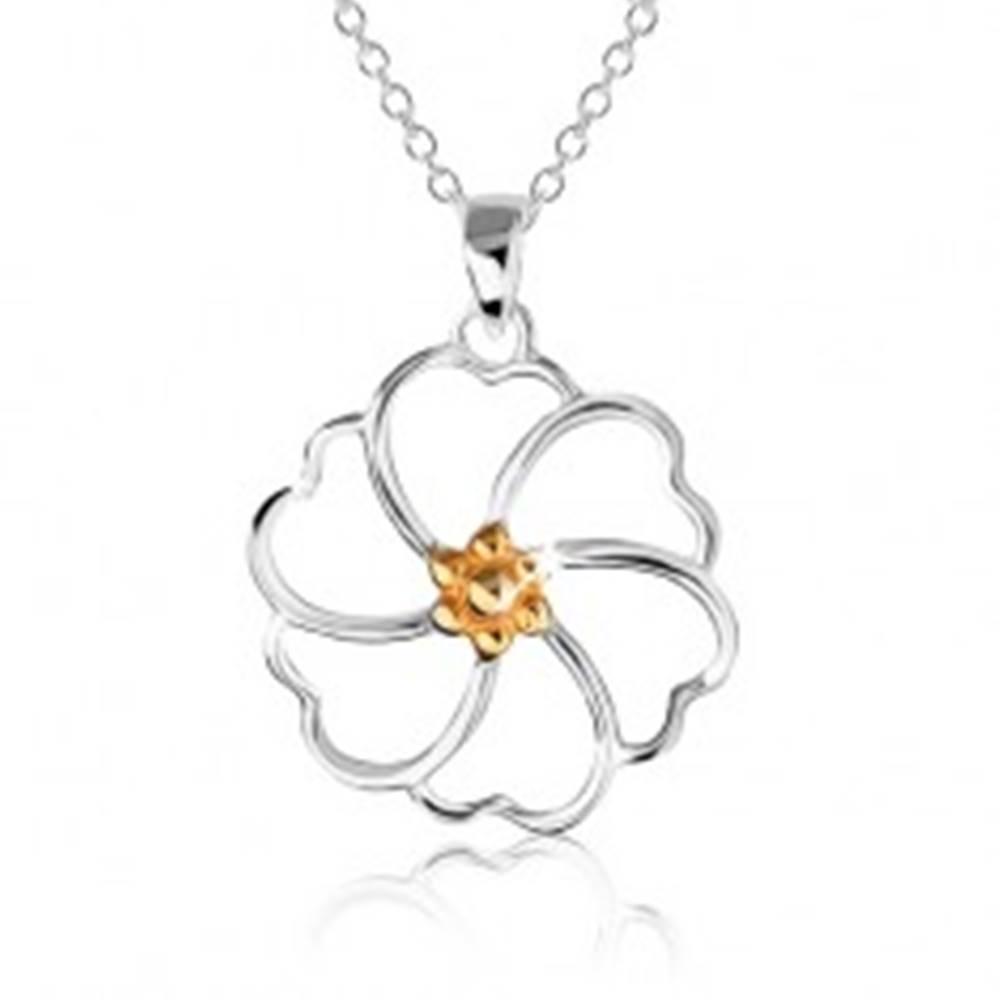 Šperky eshop Náhrdelník zo striebra 925 - kontúra kvetu so stredom zlatej farby