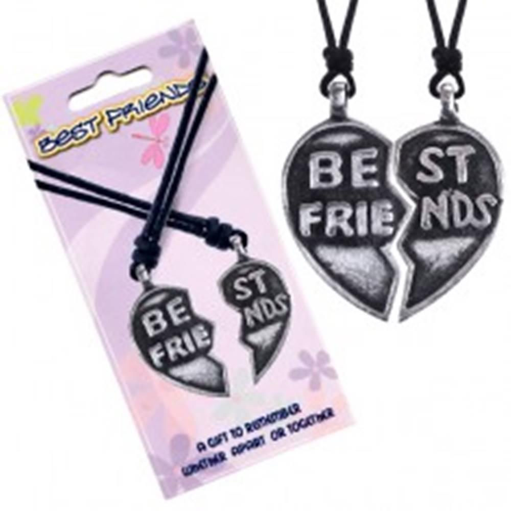 """Šperky eshop Náhrdelníky BEST FRIENDS – rozpolené srdce, text """"Best Friends"""""""