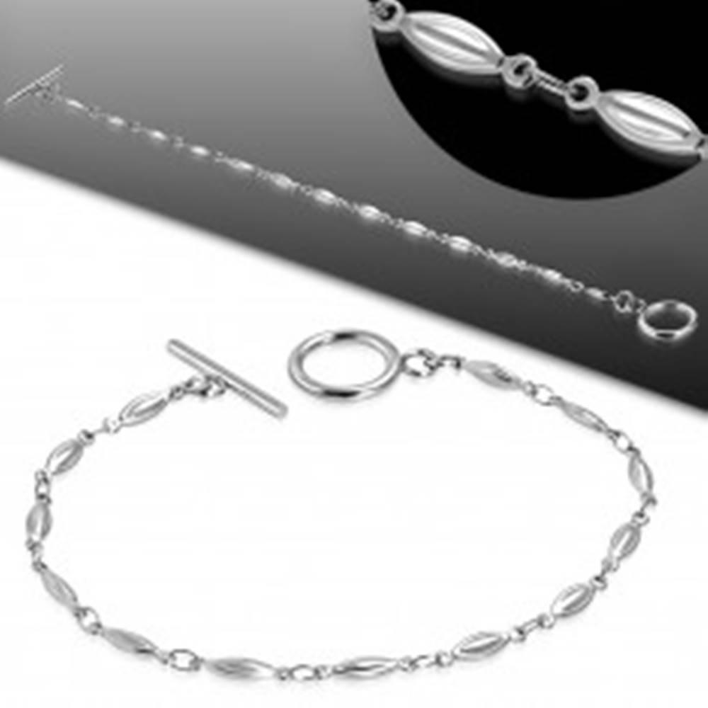 Šperky eshop Náramok z chirurgickej ocele striebornej farby, lesklé vypuklé zrnká