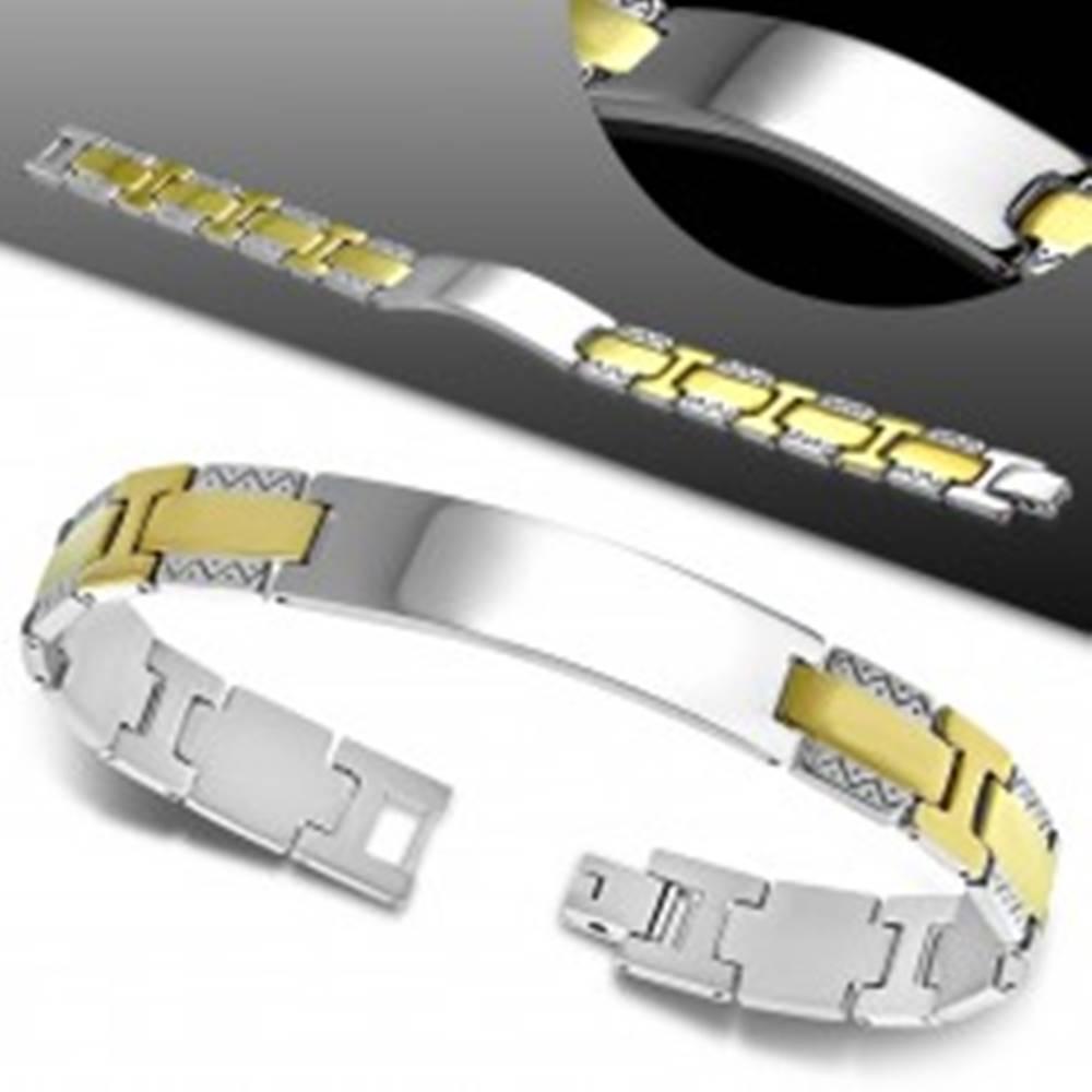 Šperky eshop Náramok z ocele 316L, lesklá hladká známka, dvojfarebné články, cik-cak vzor