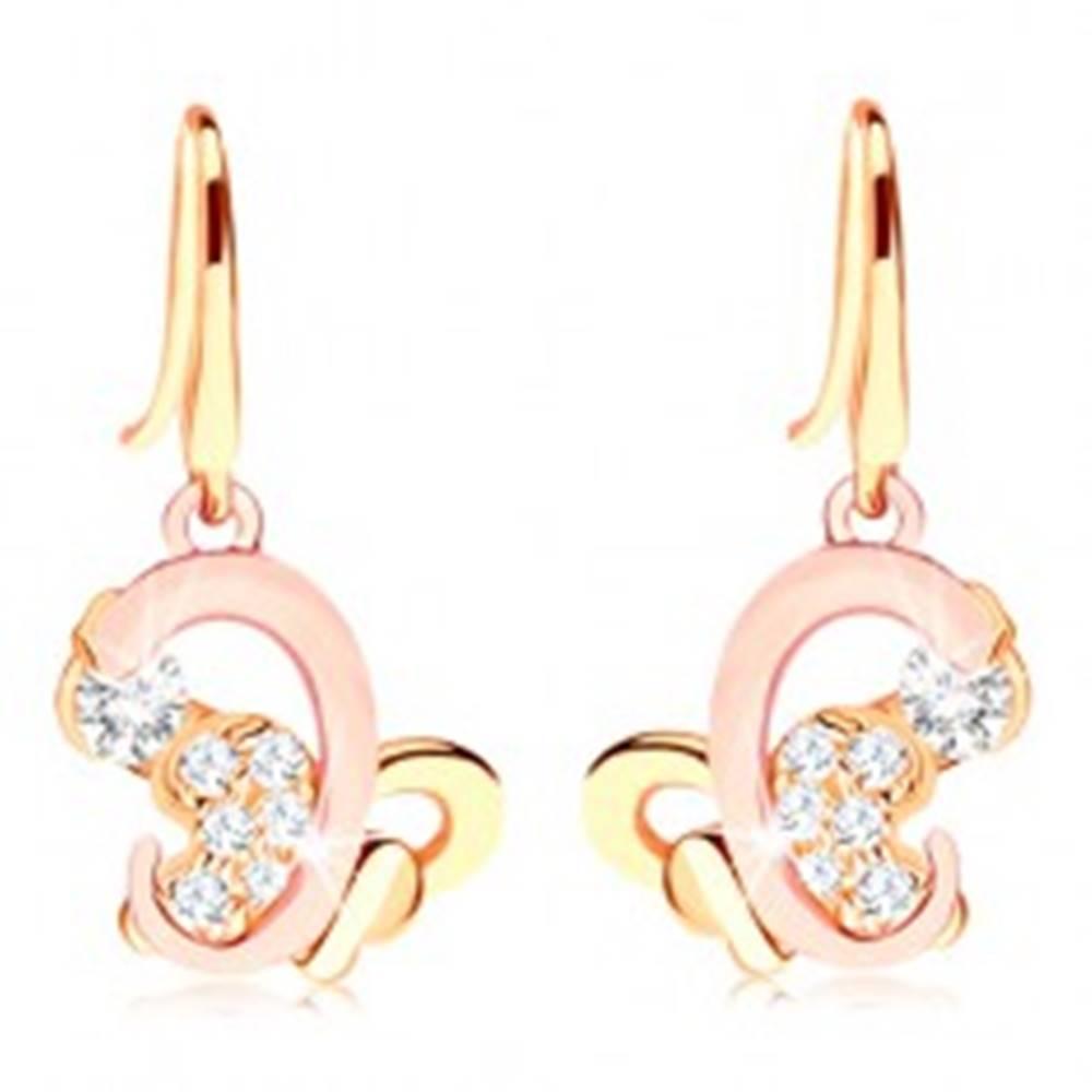 Šperky eshop Náušnice v 14K zlate - dvojfarebný asymetrický motýlik, číre zirkóny