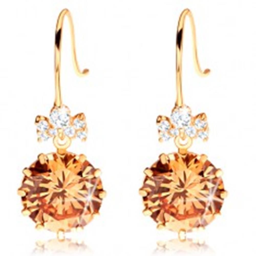 Šperky eshop Náušnice v žltom 14K zlate - číra zirkónová mašlička, veľký oranžový zirkón