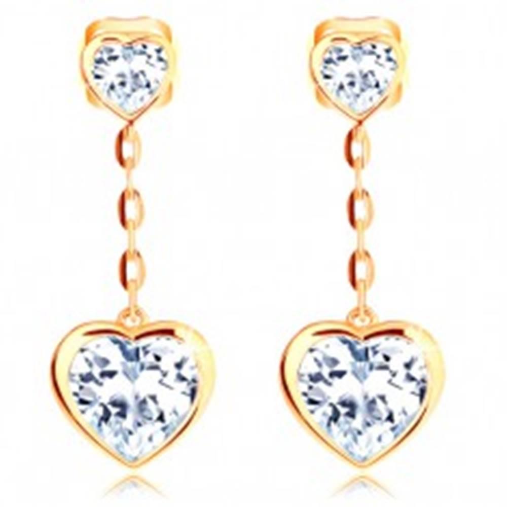 Šperky eshop Náušnice v žltom 14K zlate - dve číre srdiečka, retiazka z oválnych očiek
