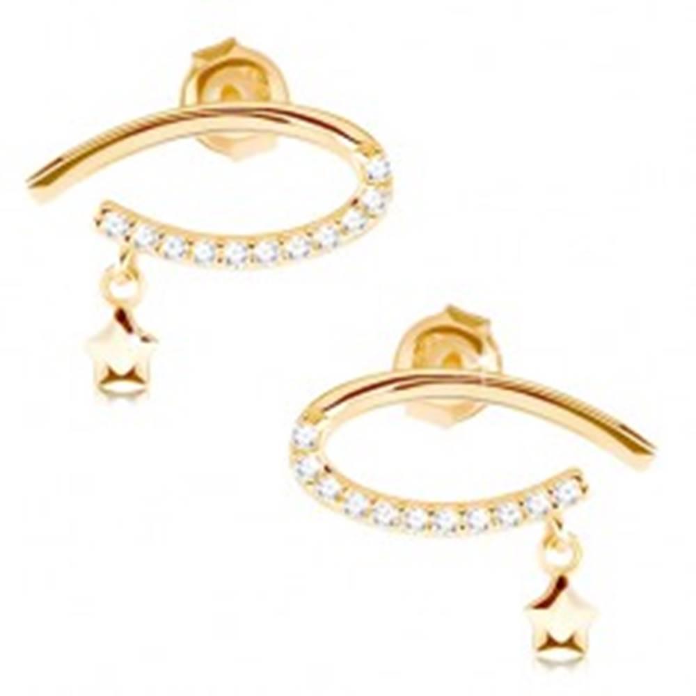 Šperky eshop Náušnice v žltom 14K zlate - kontúra ležiacej kvapky s čírymi zirkónmi, hviezdička