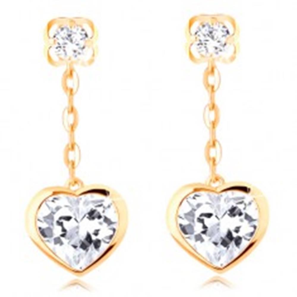 Šperky eshop Náušnice v žltom 14K zlate - visiace číre srdce s lesklým lemom, retiazka