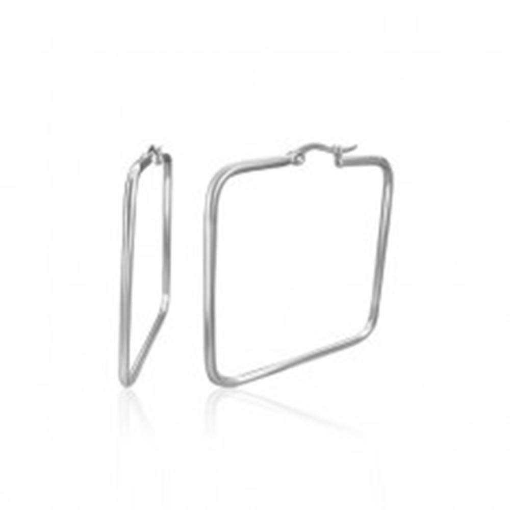 Šperky eshop Náušnice z chirurgickej ocele - lesklé štvorce, 30 mm