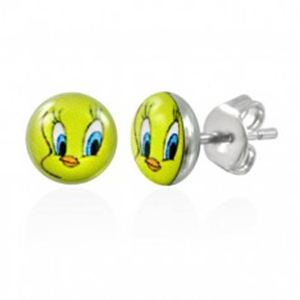 Šperky eshop Náušnice z chirurgickej ocele - vtáčik Tweety, číra glazúra, puzetky