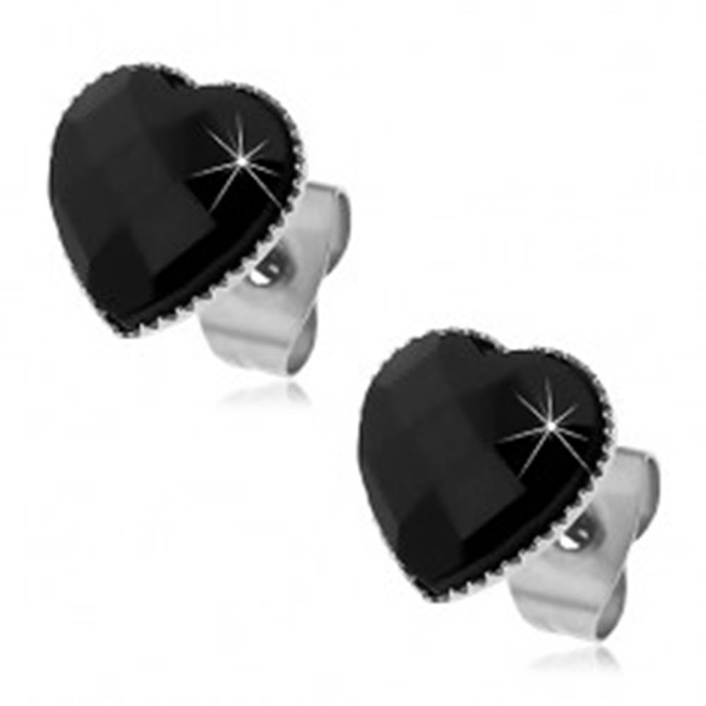 Šperky eshop Náušnice z ocele 316L - čierne brúsené srdiečko, puzetky