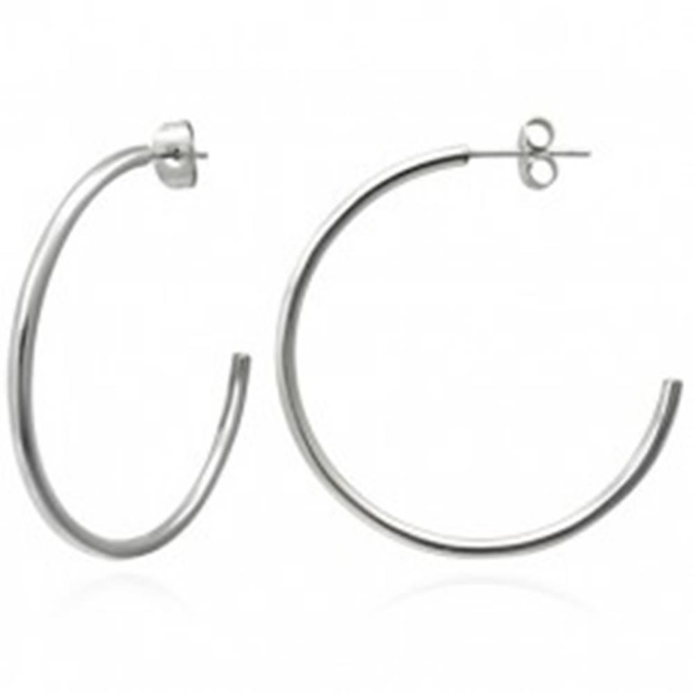 Šperky eshop Náušnice z ocele 316L striebornej farby - klasické kruhy, 40 mm