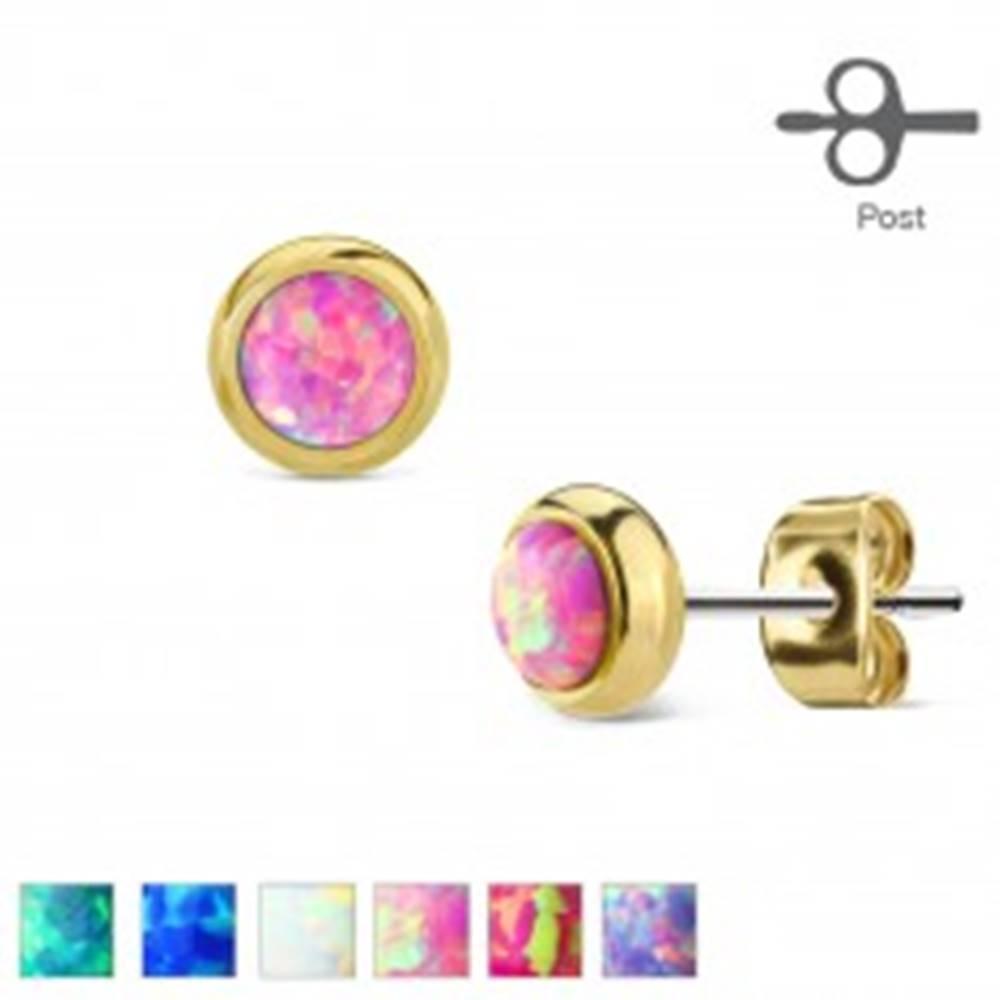 Šperky eshop Náušnice z ocele 316L zlatej farby s okrúhlym syntetickým opálom - Farba: Biela