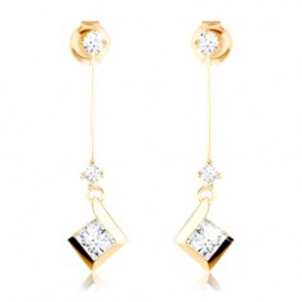 Šperky eshop Náušnice zo žltého 14K zlata - číre zirkóny, tenká palička s ligotavým štvorčekom