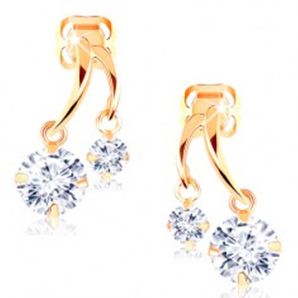 Šperky eshop Náušnice zo žltého 14K zlata - dva lesklé oblúčiky, trblietavé číre zirkóny