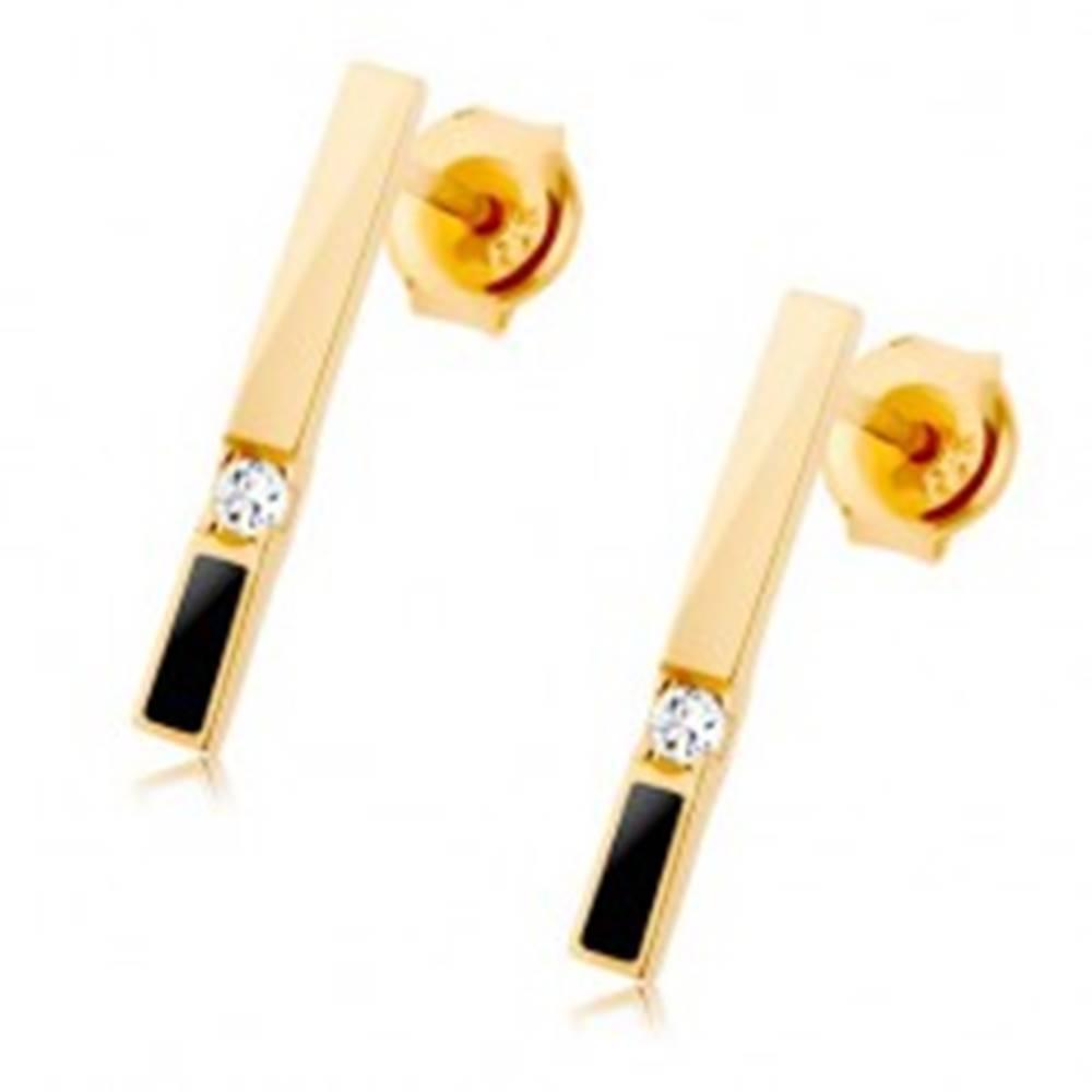 Šperky eshop Náušnice zo žltého 14K zlata - zvislý pásik so zirkónom a čiernou glazúrou