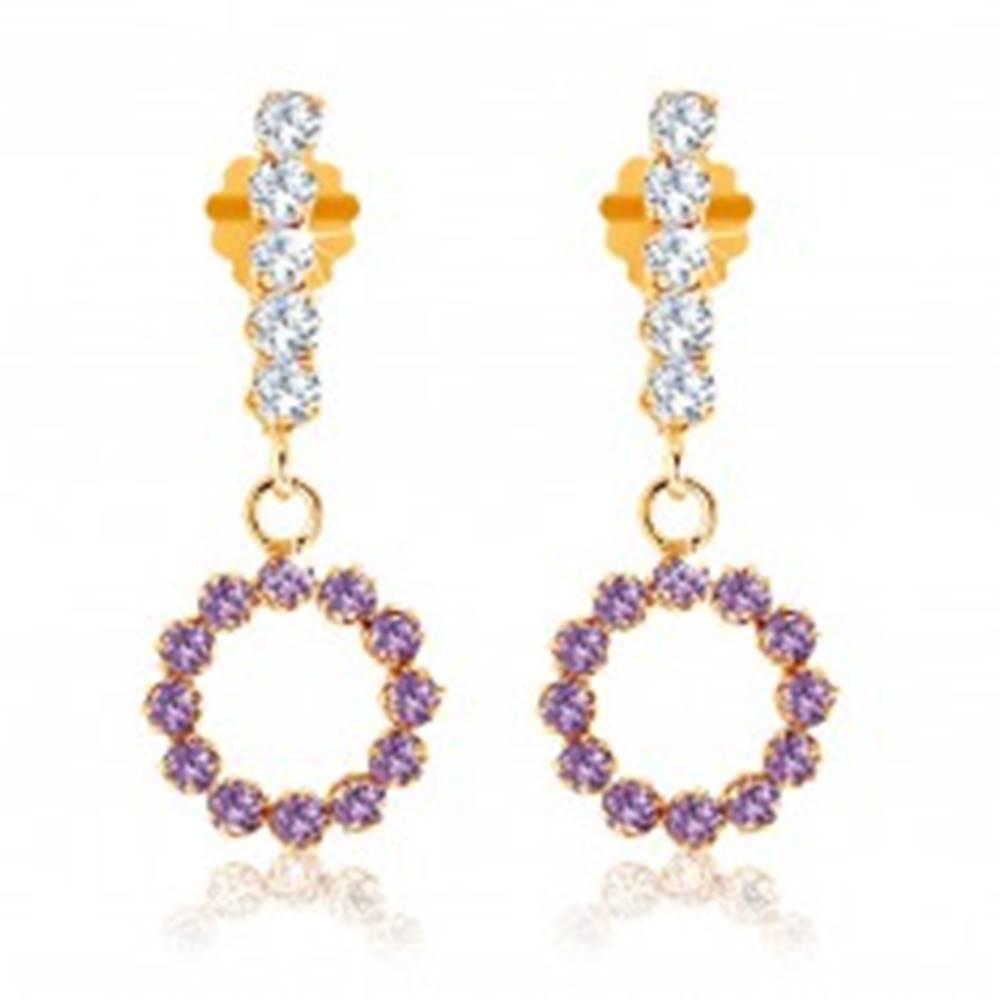 Šperky eshop Náušnice zo žltého 9K zlata - číra zirkónová línia, obruč z fialových ametystov