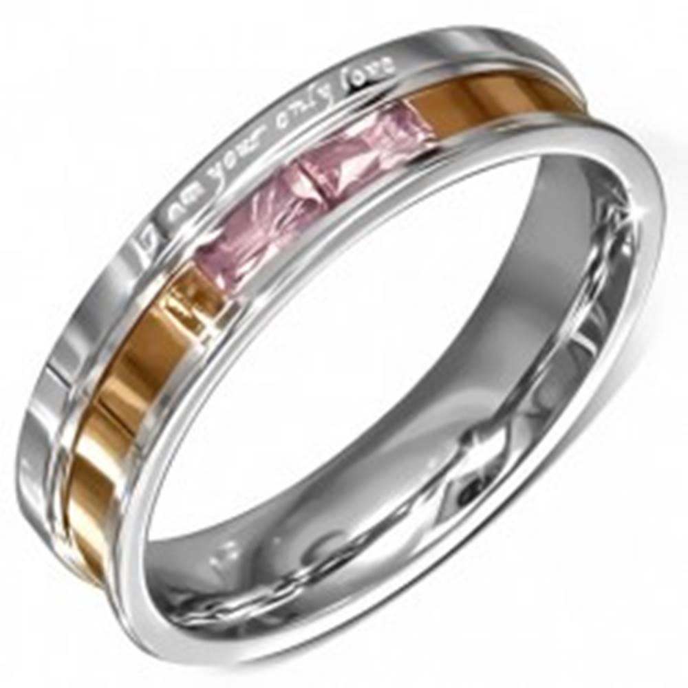 Šperky eshop Oceľová obrúčka, ružové zirkóny, gravírované vyznanie lásky - Veľkosť: 49 mm