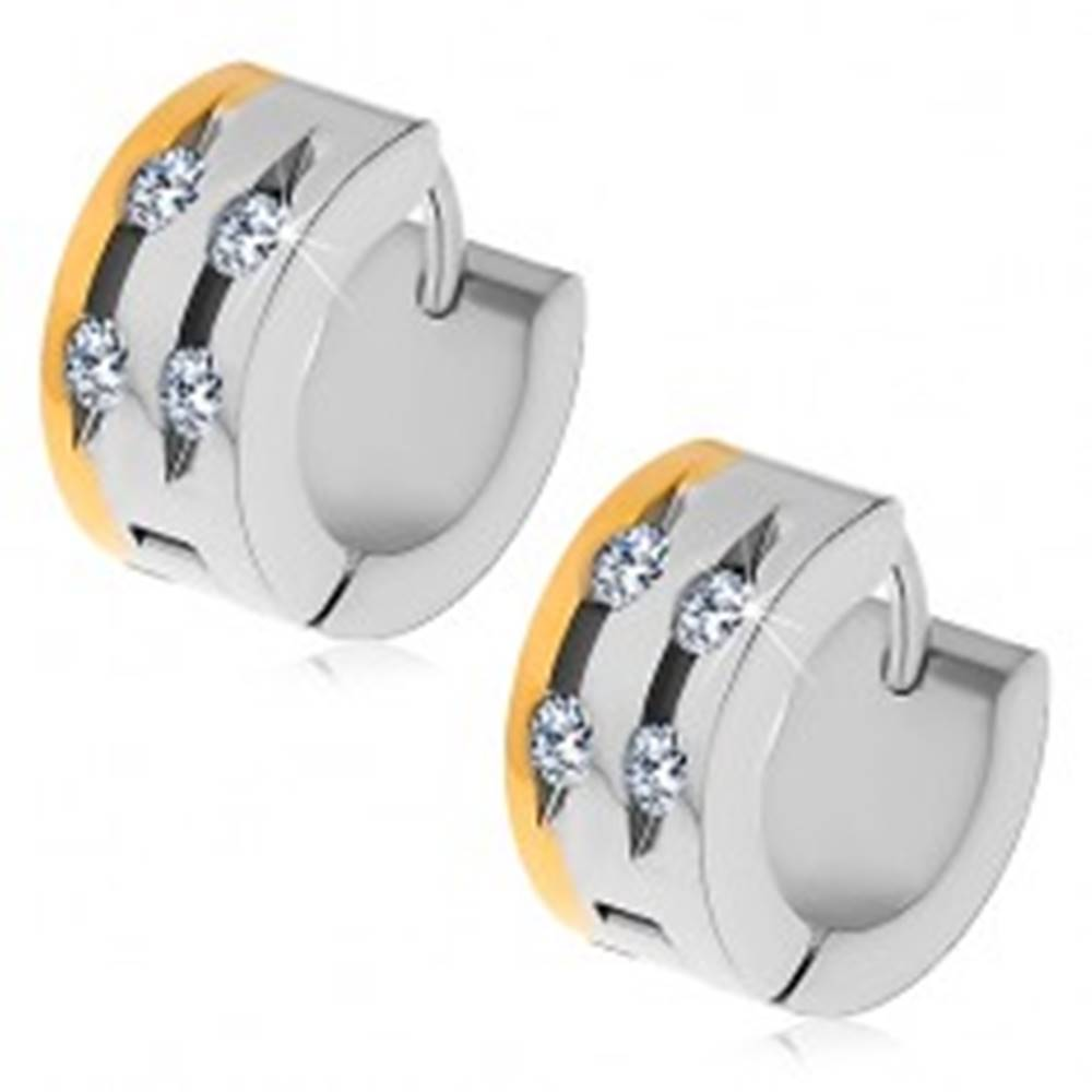 Šperky eshop Oceľové náušnice - dvojfarebné, štyri číre zirkóny v zárezoch