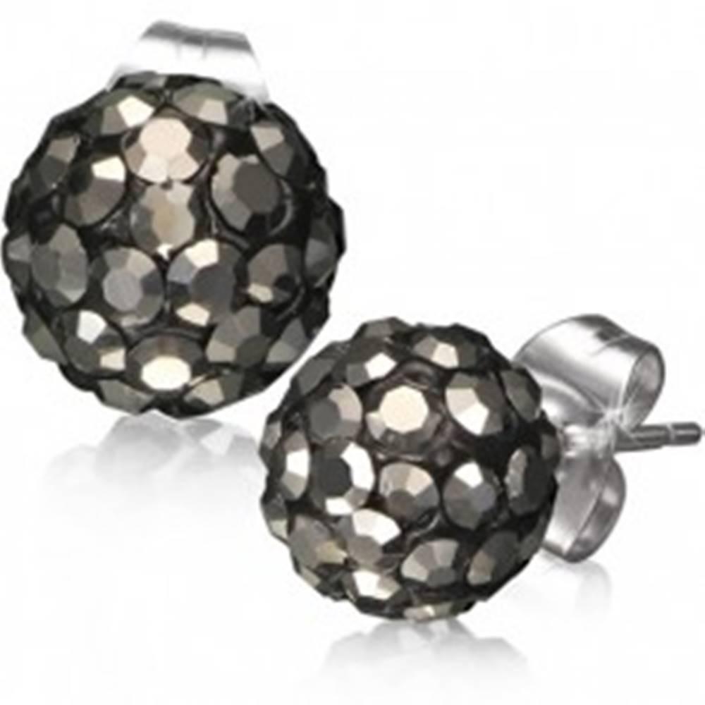 Šperky eshop Oceľové náušnice Shamballa - čierne guličky, sivé brúsené kamienky, 8 mm