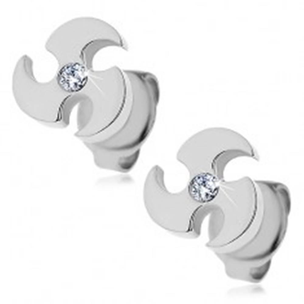 Šperky eshop Oceľové náušnice striebornej farby - vrhacia čepeľ, číry zirkón