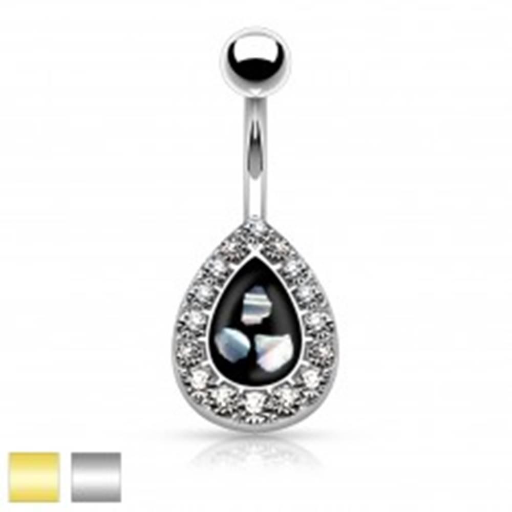 Šperky eshop Oceľový piercing do pupku, čierna kvapka s kúskami perlete, lemovaná zirkónmi - Farba piercing: Strieborná
