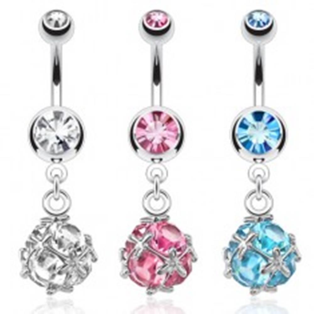 Šperky eshop Oceľový piercing do pupku s okrúhlym sieťovaným zirkónom - Farba zirkónu: Aqua modrá - Q