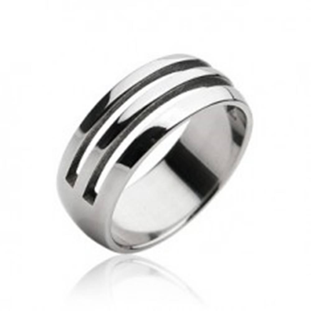 Šperky eshop Oceľový prsteň - dva vyrezané pruhy - Veľkosť: 59 mm