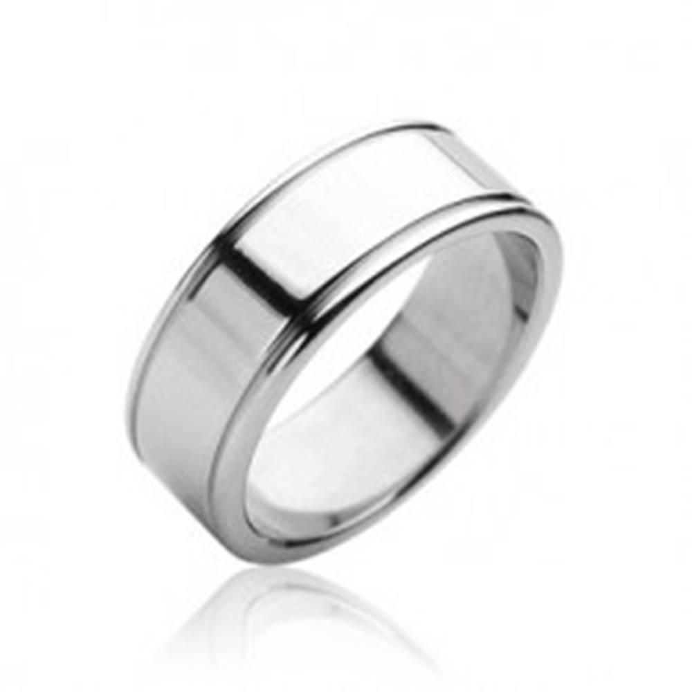 Šperky eshop Oceľový prsteň hladký matný, lesklé okraje - Veľkosť: 59 mm
