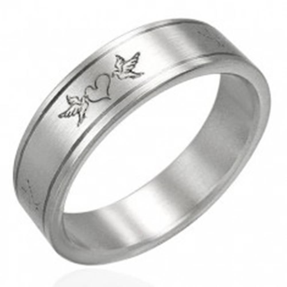 Šperky eshop Oceľový prsteň- zamilované holuby - Veľkosť: 51 mm