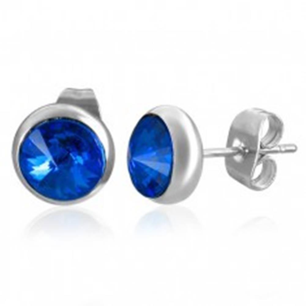 Šperky eshop Okrúhle náušnice z ocele - tmavomodrý mesačný kameň, puzetky