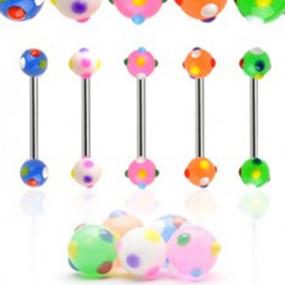 Šperky eshop Piercing do jazyka farebné bodky - Farba piercing: Biela