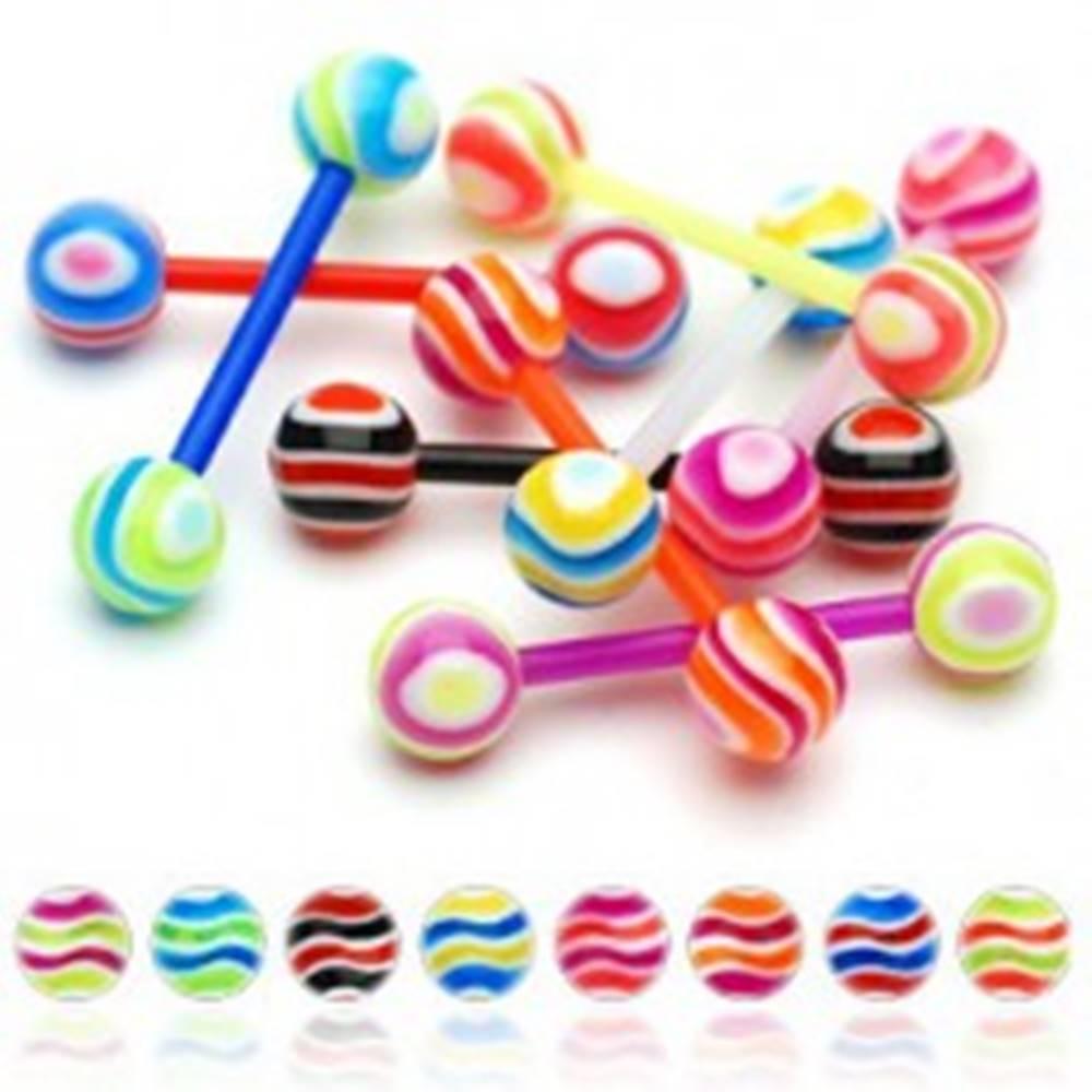 Šperky eshop Piercing do jazyka farebné prúžky - Farba piercing: Červená - Modrá - RB