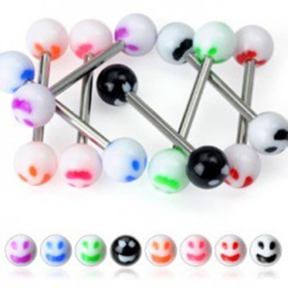Šperky eshop Piercing do jazyka - farebný smajlík - Farba piercing: Biela