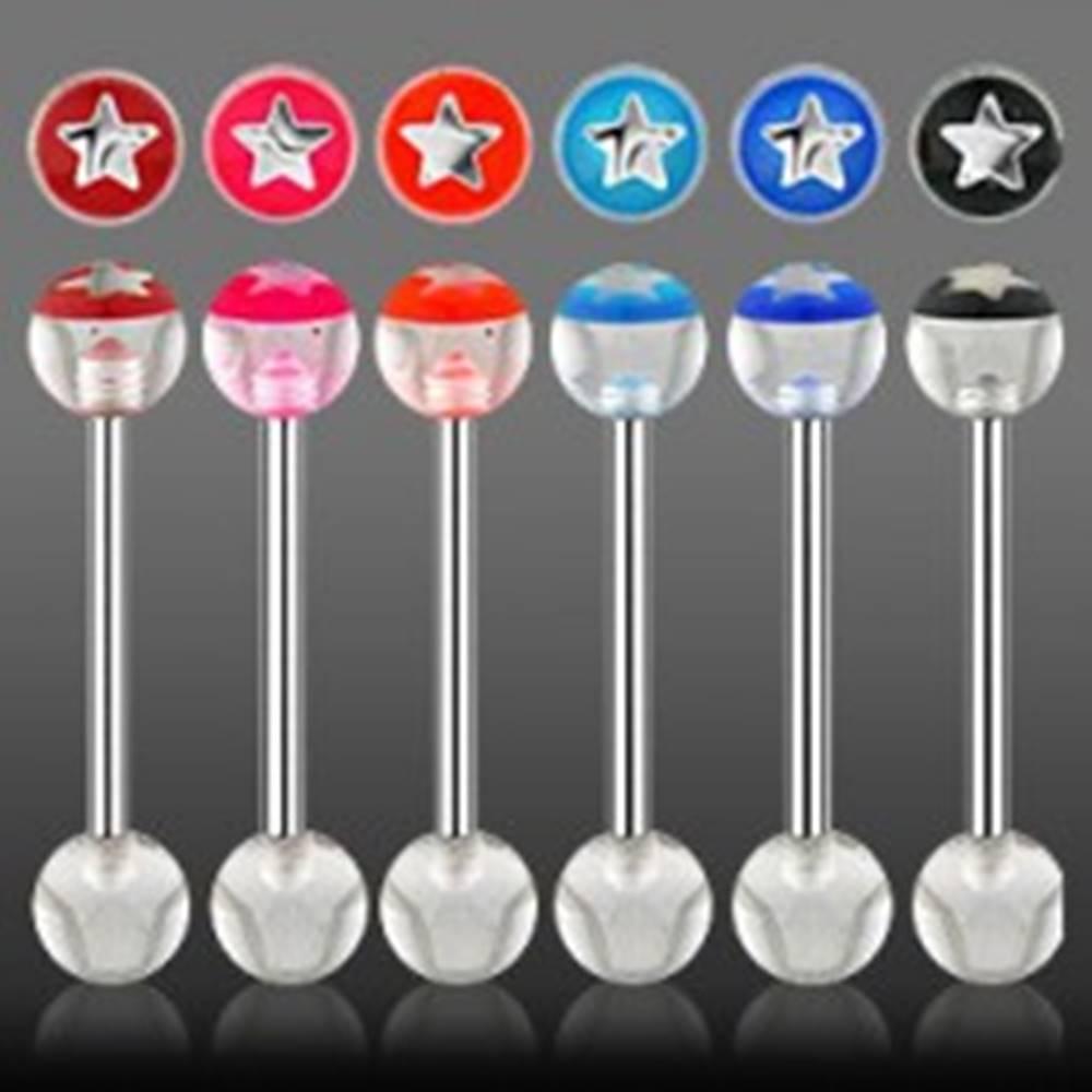 Šperky eshop Piercing do jazyka  hviezdička z UV akrylu - Farba piercing: Červená