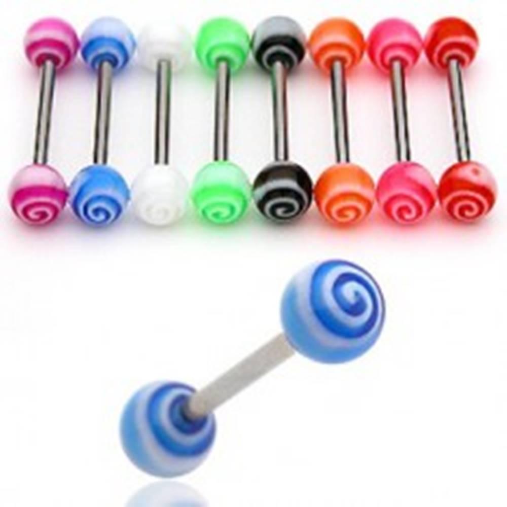 Šperky eshop Piercing do jazyka UV tornádo - Farba piercing: Červená