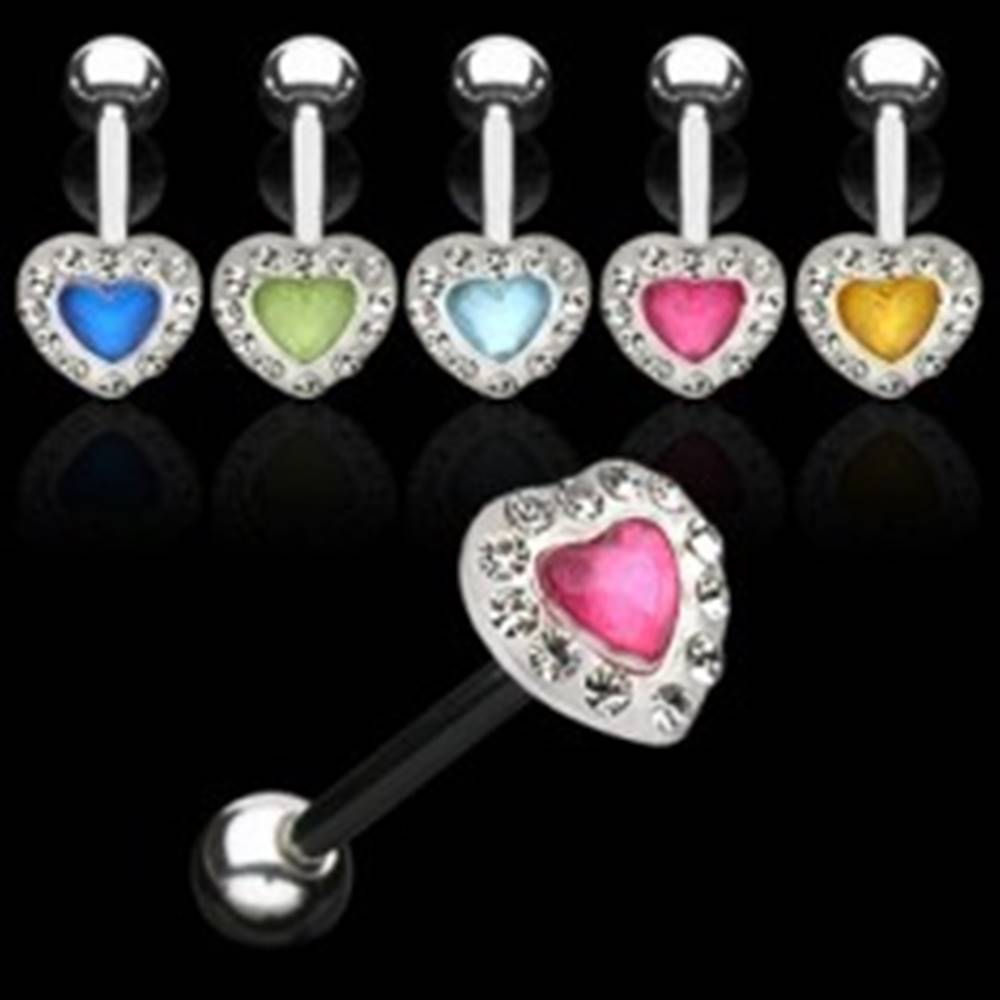Šperky eshop Piercing do jazyka zirkónové srdce - Farba piercing: Modrá