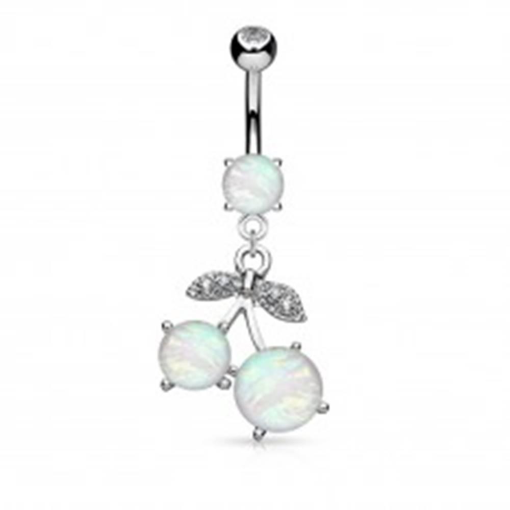 Šperky eshop Piercing do pupka z chirurgickej ocele, čerešne so syntetickým opálom a zirkónmi