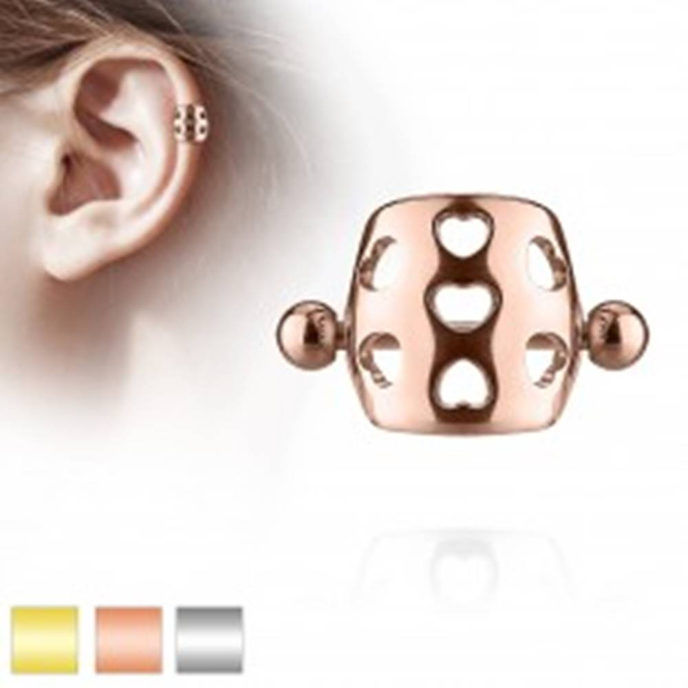 Šperky eshop Piercing do ucha z ocele 316L - činka s guličkami, oblúk s výrezmi sŕdc - Farba piercing: Medená