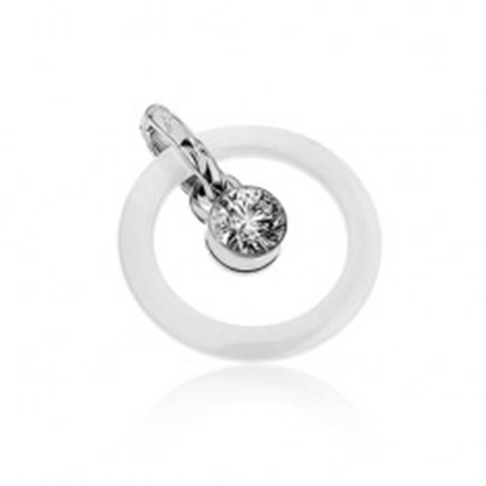 Šperky eshop Prívesok - biely keramický obrys kruhu, oceľové očko s čírym zirkónom