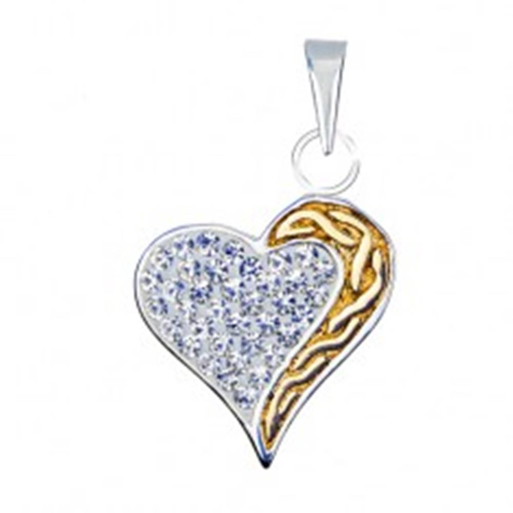 Šperky eshop Prívesok srdca zo striebra 925 so zirkónmi a zlatou špirálou