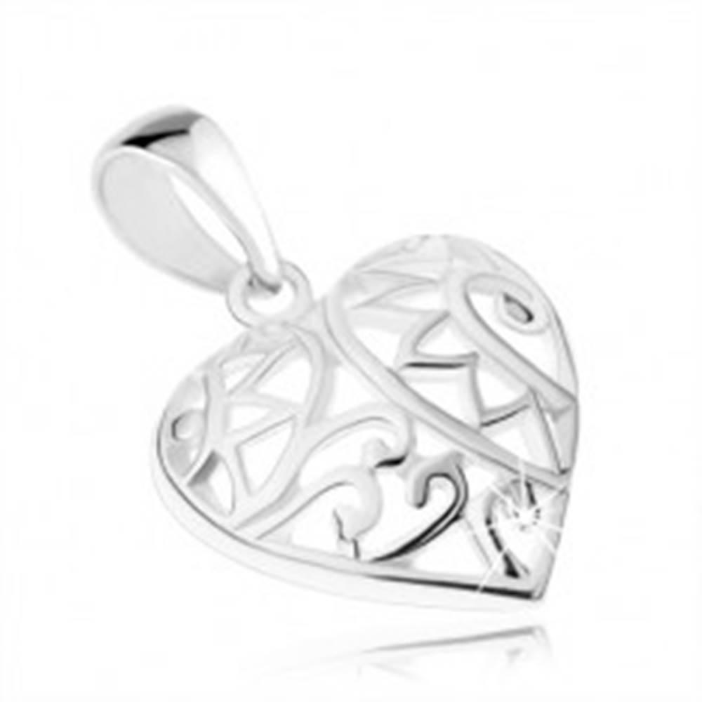 Šperky eshop Prívesok - súmerné srdiečko s filigránovým zdobením, striebro 925