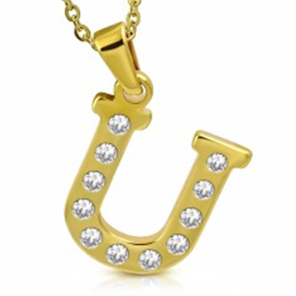 Šperky eshop Prívesok z chirurgickej ocele zlatej farby, tlačené písmeno U zdobené zirkónmi